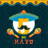 Mexican cinco de mayo mariachi party poster. Happy Cinco de Mayo party poster. Traditional mexican celebration illustration of funny mariachi number 5 with Stock Images
