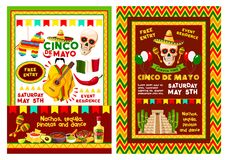 Mexican Cinco de Mayo party invitation banner. Cinco de Mayo fiesta party banner for mexican holiday invitation template. Skull in sombrero hat with maracas and Stock Image