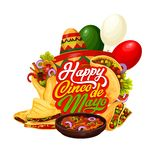 Mexican Cinco de Mayo sombrero, food and drink. Cinco de Mayo fiesta party food and drink vector greeting card. Mexican holiday mariachi sombrero, chilli pepper stock illustration