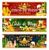 Mexican Cinco de Mayo vector fiesta banners Royalty Free Stock Photo