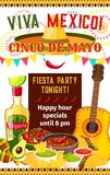 Mexican Cinco de Mayo vector fiesta invitation. Cinco de Mayo fiesta celebration invitation poster design for happy hour on tequila, jalapeno pepper and food Royalty Free Stock Image