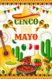 Mexican Cinco de Mayo vector fiesta poster. Cinco de Mayo fiesta celebration poster design of tequila, jalapeno pepper or cactus and guitar. Vector sombrero and Royalty Free Stock Photos