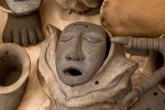 Mexican clay mask. Traditional mask of the ancient culture, which represents the Mexican history Stock Images