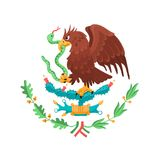 Mexican coat of arms. Mexican eagle on white background. Mexico coat of arms. Heraldic symbol of Mexico stock illustration