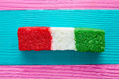 Mexican coconut flag candy striped chredded Stock Photos
