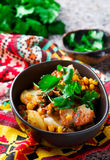 Mexican cod and potato stew. Stock Photos