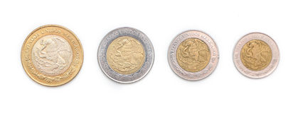Mexican Coins. On a white background Stock Photography