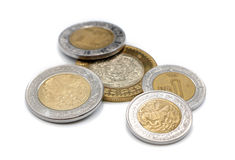 Mexican Coins. On a white background Royalty Free Stock Photos
