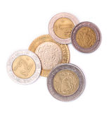Mexican Coins. On a white background Royalty Free Stock Image