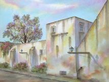 Mexican Colonial Street. Digitally photographed image of an original watercolor (on 100% cotton & hand made paper), about a typical colonial street & its Royalty Free Stock Photography