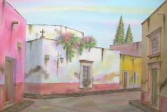 Mexican Colonial Town. Digitally photographed image of an original watercolor (on 100% cotton & hand made paper), about a typical colonial town & its vernacular Stock Image