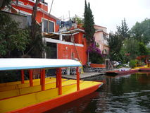 Mexican colorful boats and houses Royalty Free Stock Images