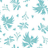 Mexican colorful and ornate ethnic seamless pattern. Birds and flowers on the light background Royalty Free Stock Photos