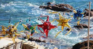 Mexican colorful pinatas during New Years and Christmas celebrations. At Los Cabos Mexico Royalty Free Stock Photos