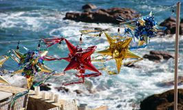 Mexican colorful pinatas during New Years and Christmas celebrations. At Los Cabos Mexico Stock Photo