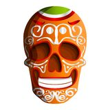 Mexican colorful skull icon, cartoon style vector illustration