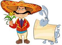 Mexican con un fiore e un asino. Fotografie Stock Libere da Diritti