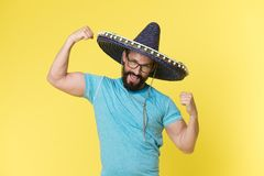 Mexican concept. Happy man smile in mexican hat. Mexican man in sombrero hat. Mexican party celebration.  royalty free stock photography