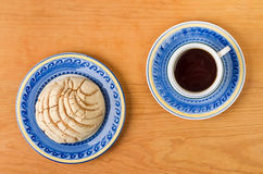 Mexican Concha sweet bread with coffee cup. Concha sweet bread traditional bakery of Mexico Stock Photography