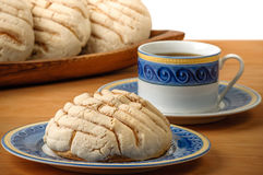 Mexican Conchas sweet bread with coffee cup. Conchas sweet bread traditional bakery of Mexico Stock Photos