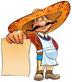 Mexican cook with menu. Happy Mexican cook holds in hand a blank sheet of paper royalty free illustration