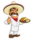 Mexican cook. Sympathetic mexican cook, carrying a tray of food royalty free illustration