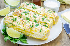 Mexican corn with butter, mayonnaise, parmesan, chili, cilantro, lime Royalty Free Stock Images