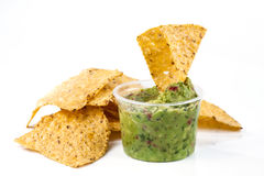 Mexican corn chips and sauce Stock Photos