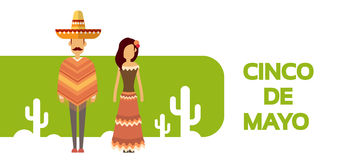 Mexican Couple Man Woman Wear Traditional Clothes Cactus Mexico National Holiday Cinco De Mayo. Flat Vector Illustration