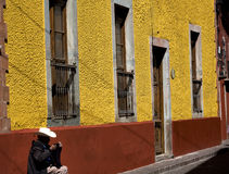 Mexican Cowboy Adobe Wall Guanajuato Mexico Royalty Free Stock Image
