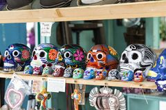 The Mexican Crafts. A variety of Mexican crafts in a market royalty free stock photo