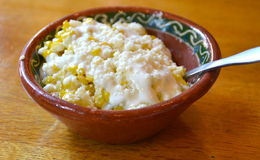 Mexican cream corn. Elote preparado, also known as Mexican cream corn. Its like Mexican street corn but served in a bowl with crema and queso fresco Stock Photography