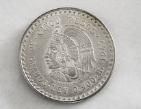 Mexican Cuauhtemoc silver coin Royalty Free Stock Images