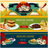 Mexican cuisine banner set with snack and dessert Stock Photos