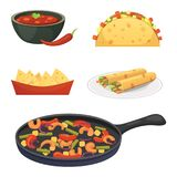 Mexican cuisine cartoon dishes illustration set.  Stock Photography