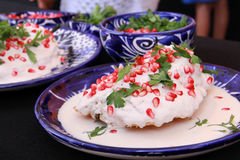 Mexican Cuisine Chile en Nogada. The chile en nogada is one of the typical dishes of the gastronomy of the state of Puebla. It has been called the `poblano royalty free stock image