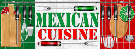 Mexican cuisine - Cocina mexicana. Concept of mexican cuisine with kitchen tools and national flag Stock Photography