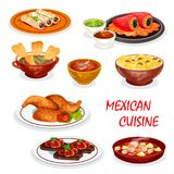 Mexican cuisine dinner icon with snack and sauce. Mexican cuisine dinner icon with appetizer and sauce. Chili and avocado sauce with meat burrito and chicken royalty free illustration
