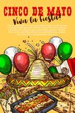 Mexican cuisine dishes, Cinco de Mayo holiday. Cinco de Mayo day, Mexican holiday, Mexico cuisine dishes, fiesta party. Vector sombrero and balloons, flag and royalty free illustration