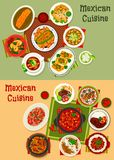 Mexican cuisine dishes dinner set Royalty Free Stock Photo