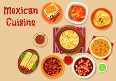 Mexican cuisine dishes icon for menu design Stock Image