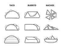 Mexican cuisine food. Taco, burrito and nachos eating snacks line vector set Stock Image