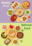 Mexican cuisine icon set with hot snacks Royalty Free Stock Image
