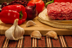 Mexican cuisine ingredients for Burrito. Ingredients that are used in mexican cuisine for burrito Stock Photography