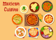 Mexican cuisine meat and fish dishes icon. Mexican cuisine chicken burrito and duck tortilla rolls icon with vegetable beef stew estofado, chicken soup with Royalty Free Stock Photo
