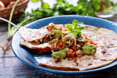 Mexican cuisine quesadilla. Portrait of mexican cuisine quesadilla served at blue plate with guacamole, salsa and jalapenos royalty free stock photos