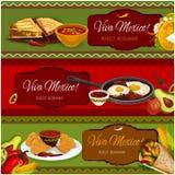 Mexican cuisine restaurant banner set design Stock Images