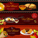 Mexican cuisine restaurant banners with spicy food Stock Photo