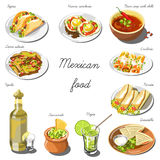 Mexican cuisine set. Collection of food dishes Royalty Free Stock Image