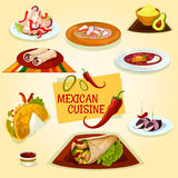 Mexican cuisine taco, burrito and tortilla icon Royalty Free Stock Photography